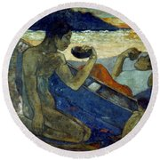 Gauguin: Pirogue, 19th C Round Beach Towel