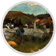 Gauguin: Swineherd, 1888 Round Beach Towel