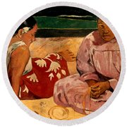 Gauguin: Tahiti Women, 1891 Round Beach Towel
