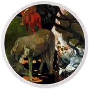 Gauguin: White Horse, 1898 Round Beach Towel