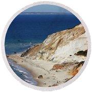 Gay Head Cliffs And Beach Round Beach Towel