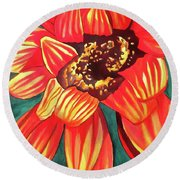 Gazania Round Beach Towel