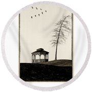 Gazebo And Geese Poster Round Beach Towel
