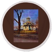 Gazebo And Tree Round Beach Towel