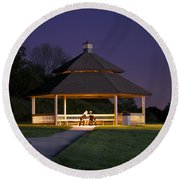 Gazebo During The Blue Moments Frankfort Il Round Beach Towel
