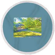 Gazebo On Onion Creek Round Beach Towel