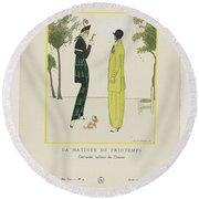 Gazette Du Bon Ton 1914   No  4  Pl  36  La Matinee De Printemps  Costumes Tailleur De Doucet  J  M Round Beach Towel