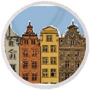 Gdansk Buildings Round Beach Towel