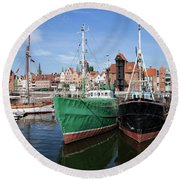 Gdansk Old Town Skyline From The Harbour Round Beach Towel