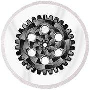 Gearwheel In Black And White Round Beach Towel