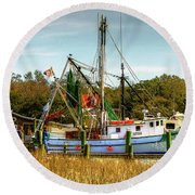 Geechie Seafood Shrimp Boats Round Beach Towel
