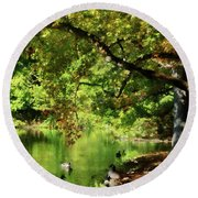Geese By Pond In Autumn Round Beach Towel