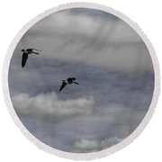 Geese In A Maple Sky Round Beach Towel
