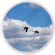 Geese In Flight Round Beach Towel