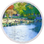 Geese In Pond 2 Round Beach Towel