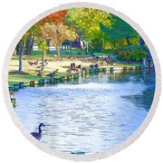 Geese In Pond 3 Round Beach Towel