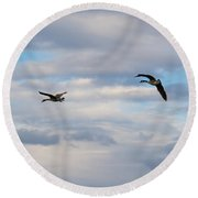 Geese In The Clouds Round Beach Towel