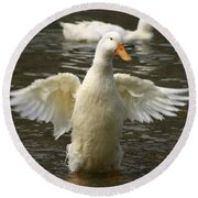 Geese In The Water Round Beach Towel