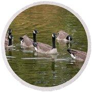 Geese On Pond Round Beach Towel