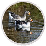 Geese On The Canal   Round Beach Towel