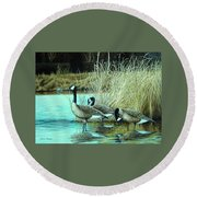 Geese On Watch Round Beach Towel
