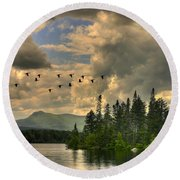 Geese Over Jericho Lake Round Beach Towel