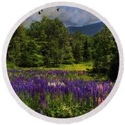 Geese Over Lupine Field Round Beach Towel