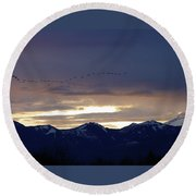 Geese Over The Cascades Round Beach Towel