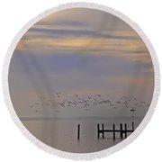 Geese Over The Chesapeake Round Beach Towel