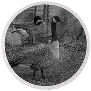 Geese Together  Round Beach Towel