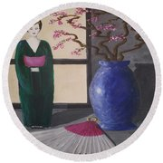 Geisha Doll Round Beach Towel
