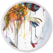 Geisha Soul Watercolor Painting Round Beach Towel