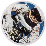 Gemini 4: Spacewalk, 1965 Round Beach Towel