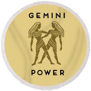 Gemini Power Round Beach Towel by Judy Hall-Folde