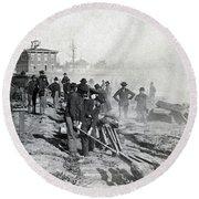 Gen Shermans Troops Destroying Railroad Before The Evacuation Of Atlanta - C 1864 Round Beach Towel