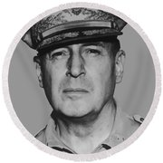 General Douglas Macarthur Round Beach Towel by War Is Hell Store