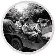 General Eisenhower In A Jeep Round Beach Towel