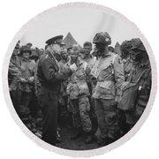 General Eisenhower On D-day  Round Beach Towel