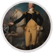 General George Washington At Trenton Round Beach Towel