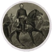 General Grant On Horseback  Round Beach Towel by War Is Hell Store