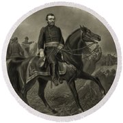 General Grant On Horseback  Round Beach Towel