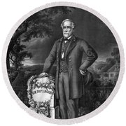 General Lee Visits The Grave Of Stonewall Jackson Round Beach Towel