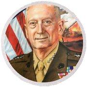 General Mattis Portrait Round Beach Towel