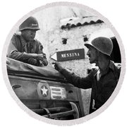 General Patton In Sicily Round Beach Towel