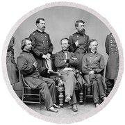 General Sherman And His Staff  Round Beach Towel