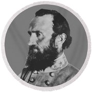 General Stonewall Jackson Profile Round Beach Towel