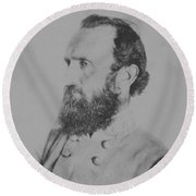 General Thomas Stonewall Jackson Round Beach Towel by War Is Hell Store