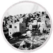 General View Of Bethlehem 1800s Round Beach Towel