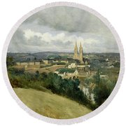 General View Of The Town Of Saint Lo Round Beach Towel by Jean Corot