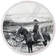 General William T Sherman On Horseback - C 1864 Round Beach Towel